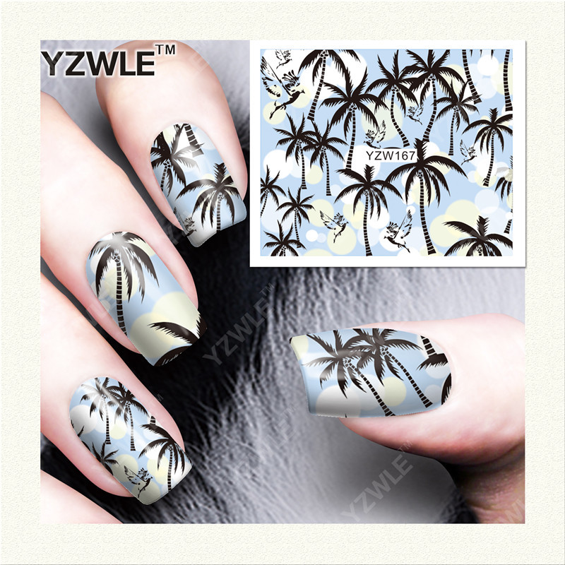Yzw Environmentally Friendly Non-toxic Nail Sticker Shimmering Powder Dreamy Flower Plaid Pattern Manicure All Adhesive Paper YZ