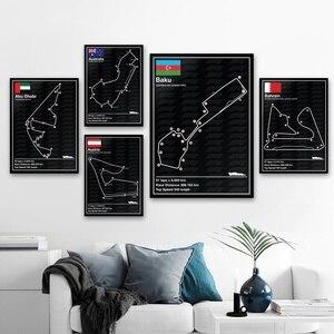 Monako belgia meksyk tor wyścigowy F1 tor wyścigowy sztuka nordycka plakat na płótnie dekoracje ścienne do domu (bez ramki)