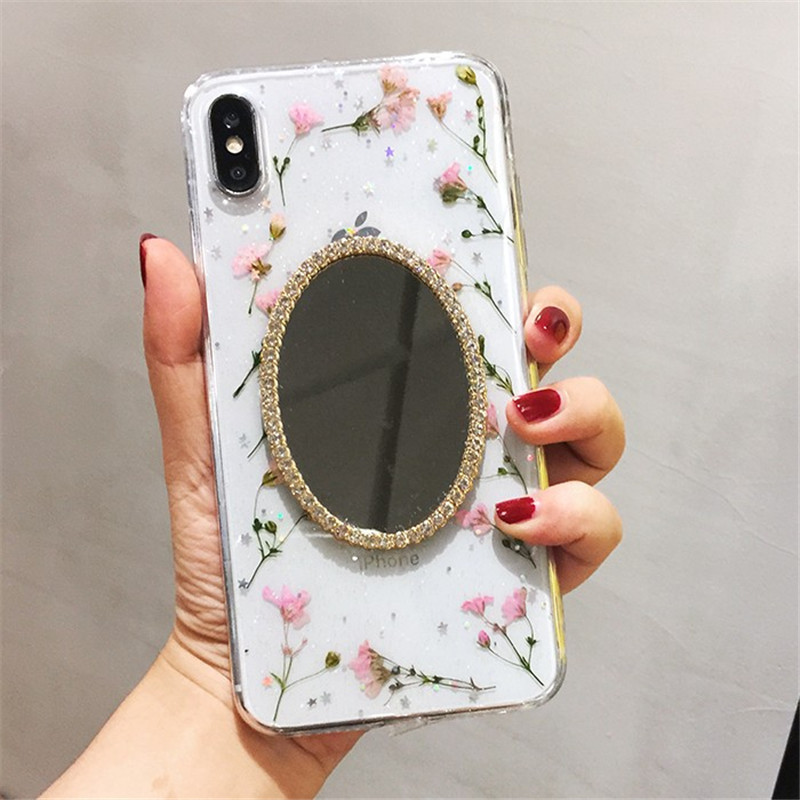 <font><b>case</b></font> for <font><b>iPhone</b></font> 11 XR 7 8 11 Pro Max X XS Max <font><b>Plus</b></font> 6 <font><b>6s</b></font> cover Rhinestone <font><b>Makeup</b></font> Mirror real dried flower image
