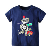 INS New Style Childrenswear Children Summer Short sleeved Set Europe And America Middle And Large BOY'S Sapphire Blue Dinosaur H