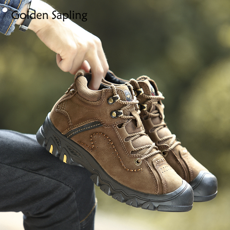 Golden Sapling Men's Tactical Boots Men Hiking Shoes Genuine Leather Sneakers Mountain Hunting Boots With Fur Man Outdoor Shoes