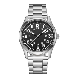 Pilot Style Watch Arabic Numbers Stainless Steel Strap Quartz Relogio Masculino Wristwatch Easy Reading Classic