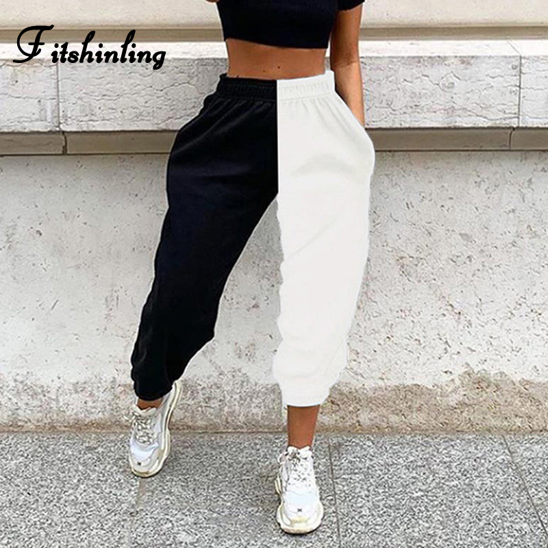 Fitshinling Patchwork Casual Pants Women Fashion Slim Black White Athleisure Jogger Bottoms Wear Autumn Winter Pant Female Sale