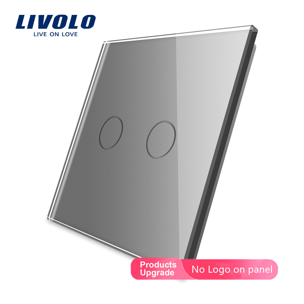 Livolo  EU Standard DIY Part , Glass Panel Only For 2 Gang  Wall Touch Switch With 4 Colors