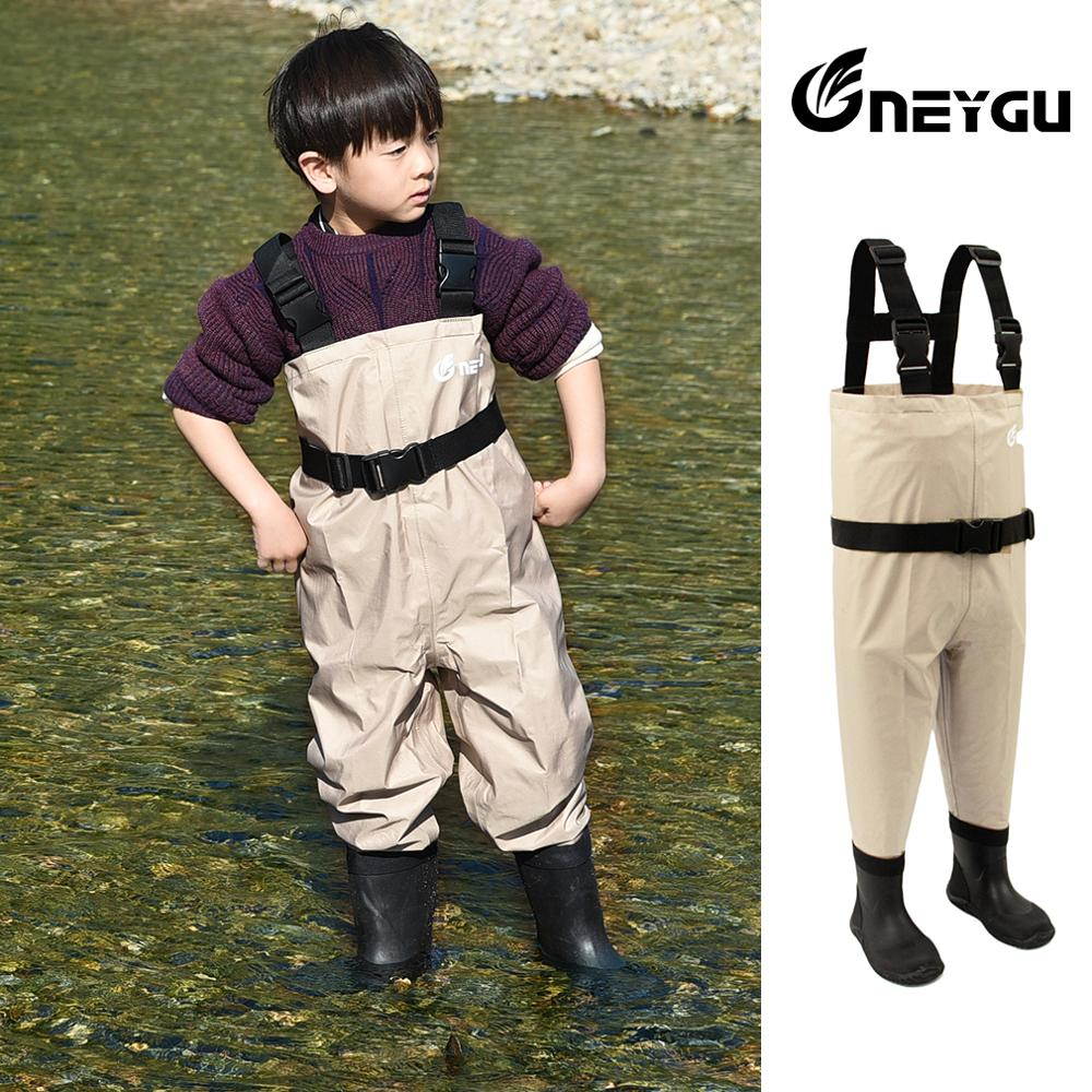 NEYGU Toddler Kids And Children's Waterproof & Windproof Fishing  Waders Attached With Rubber Boots For Sailing ,rafting,hunting