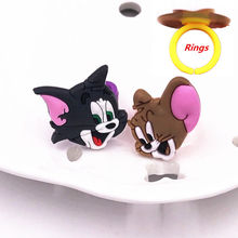 1Pcs Cute Cartoon Cat Mouse Lovely Animation PVC Rings for Children Kid Girls Baby Adjustable Fashion Jewelry Ring(China)