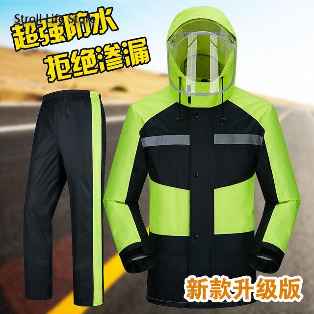 Raincoat Rain Pants Suit Men Adult Motorcycle Waterproof Rain Coat Jacket Mens Sports Suits Rainwear Casaco Masculino Gift Ideas 5