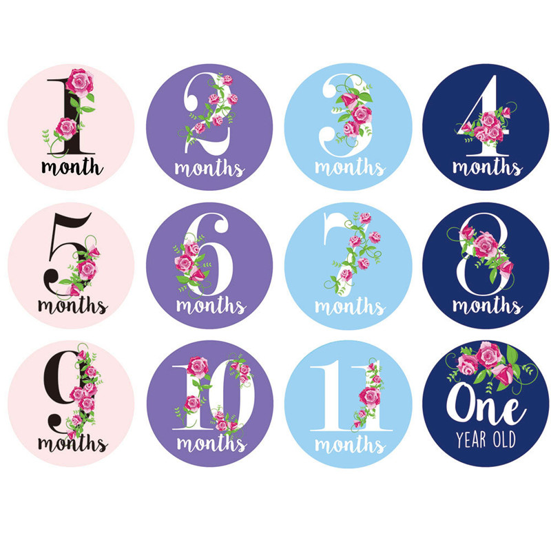 12 Pcs/Set Numbers First Year Monthly Milestone Photo Sharing Baby Cards Gift Belly Stickers 1-12 Months For Baby Photo Keepsake