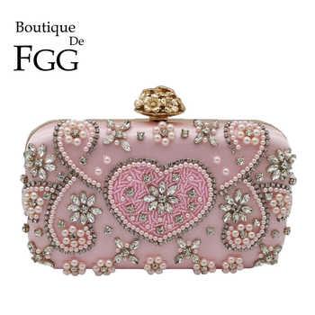 Boutique De FGG Vintage Rosa In Rilievo della Frizione Sacchetti di Sera Delle Donne di Cuore e Fiore di Cristallo di Cerimonia Nuziale Pochette Borse Da Sposa Borse
