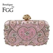 Boutique De FGG VINTAGEสีชมพูBeadedคลัทช์กระเป๋าตอนเย็นหัวใจและดอกไม้คริสตัลClutchesกระเป๋าถือเจ้าสาวกระเป๋า