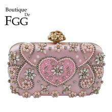 Boutique De FGG Vintage Pink Beaded Clutch Women Evening Bags Heart & Flower Wedding Crystal Clutches Handbags Bridal Purses