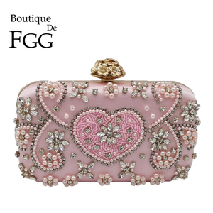 Image 1 - Boutique De FGG Vintage Pink Beaded Clutch Women Evening Bags Heart & Flower Wedding Crystal Clutches Handbags Bridal Purses