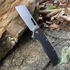 TUNAFIRE folding knife D2 stone wash blade High-end linen (Micarta) outdoor camping hiking self-defense tool pocket knife 1