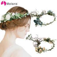 Molans Boho Romantic Flower Crowns for Bride Wedding Elegant Stimulated Floral Leaves Garlands Champagne Blue Rose Bridal Wreath