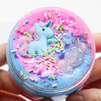 Einhorn puff Schleim 60ml kunststoff ton Licht Ton bunte Modellierung Polymer Ton Sand Zappeln Plastilin Gum Für Handgemachte Spielzeug