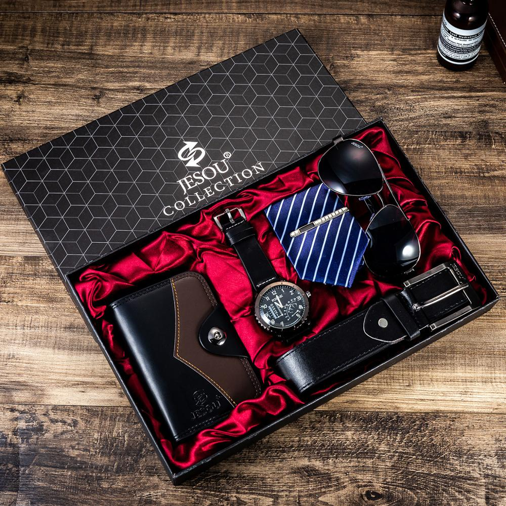 Set -6pes/set Men's Gift Set Beautifully Packed Watch+Belt Tie Wallet Simple Combination Waterproof Wristwatch