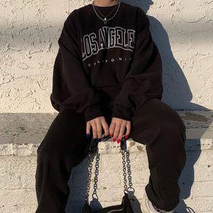 Letter Los Angeles Sweatshirt Hip Hop Pullovers O-neck Regular Trendy Knitted Unisex