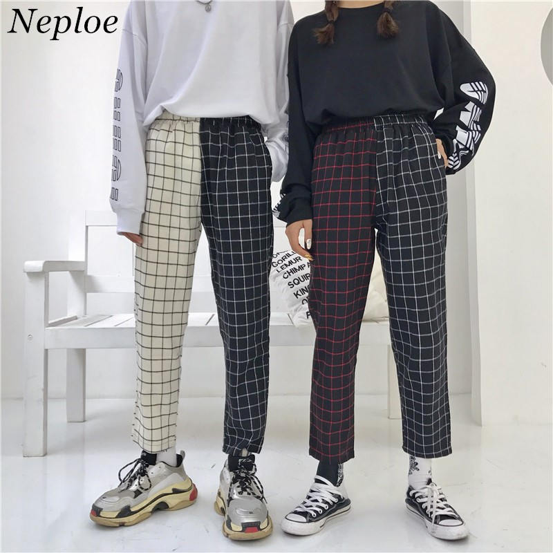 Neploe Vintage Plaid Patchwork Pants Harajuku Woman Man Trousers Elastics High Waist Pants Korean Causal Straight Checkerboard(China)