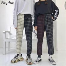 Neploe Vintage Plaid Patchwork pantalones Harajuku mujer hombre Pantalones elásticos de cintura alta coreano casual Straight Checkerboard