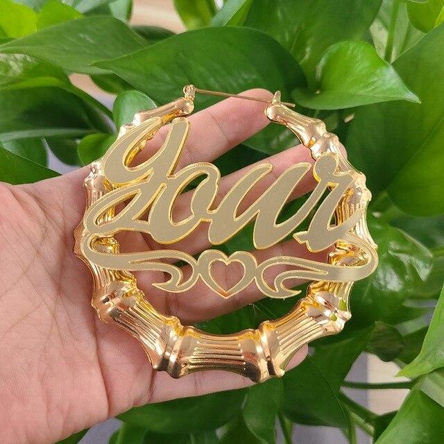 Tùy Chỉnh Tre Bông Tai Acrylic Cá Tính Tên Thời Trang Hoa Tai