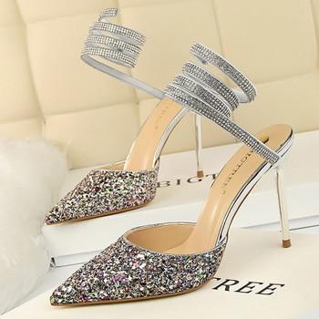 Summer Luxury High Heels Bling Sequin Sandals  4