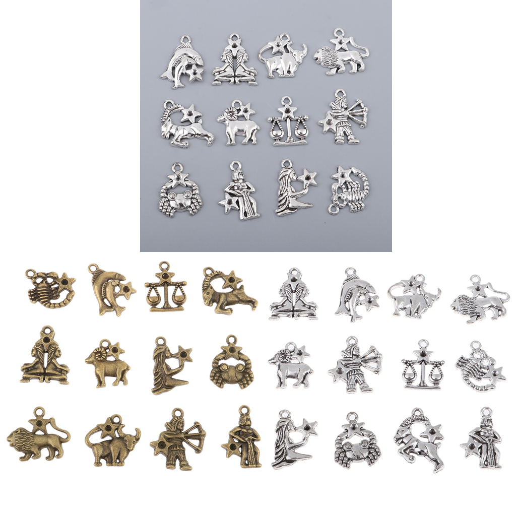 24Pcs Vintage <font><b>Zodiac</b></font> <font><b>Sign</b></font> Charms <font><b>12</b></font> <font><b>Constellation</b></font> <font><b>Pendants</b></font> Beads DIY for <font><b>Necklace</b></font> Bracelet Jewellery Making and Crafting image