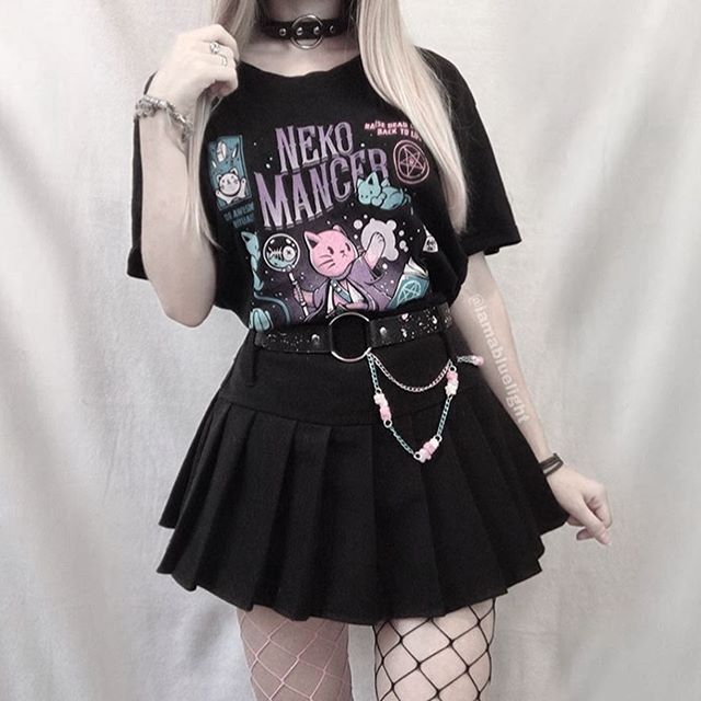 Kuakuayu HJN Neko Mancer T-Shirt Unisex Cute Aesthetic Grunge Black Tee Satantic Gothic Clothing Witch Shirt
