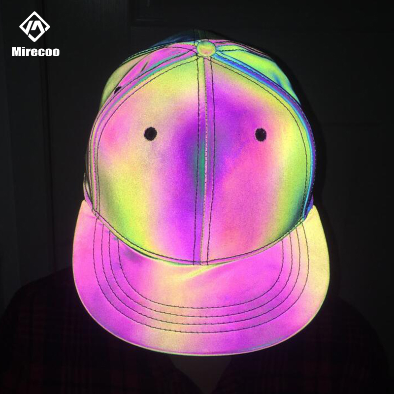 Laser Reflective Men Hip Hop Cap Rainbow Snapback Adjustable Baseball Caps Dad Cap Women Fitted Hat Skateboard Streetwear Unisex