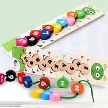 Houten Leren Baby Speelgoed Kleurrijke Nummer Rijgen Threading Caterpillar Digital Kralen Wiskunde Montessori Educatief Speelgoed 1 10