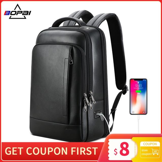 BOPAI Genuine Leather Backpack Laptop Mens Business Casual Waterproof Back Pack Male Computer Bagpack Black Backpacking 1