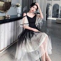 Evening Dresses Boat Neck It's Yiiya R262 Elegant Black Gradient Robe De Soiree Spaghetti Strap Sequin Tulle Women Party Gowns
