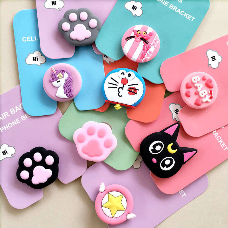 Cute Cartoon Mobile Phone Grip Bracket Phone Expanding Stand Phone Finger Ring Holder For Android  For Iphone 8 XS Xiaomi HUAWEI