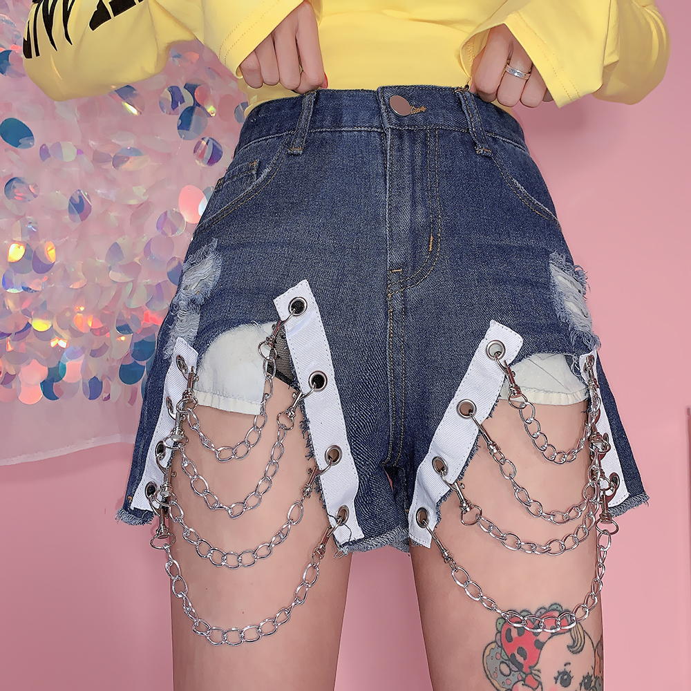 Summer Women Europe And America Chain Sexy Denim Ripped Shorts Young Girl Vintage Harajuku Style High Waist Shorts Mori Girl