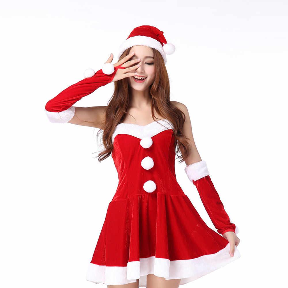 אופנתי בר 2019 חדש גבירותיי סנטה קלאוס קוספליי תחפושת קרנבל מסיבת חג המולד בנות אדום שמלת חורף צמר תפקיד בגדי סט