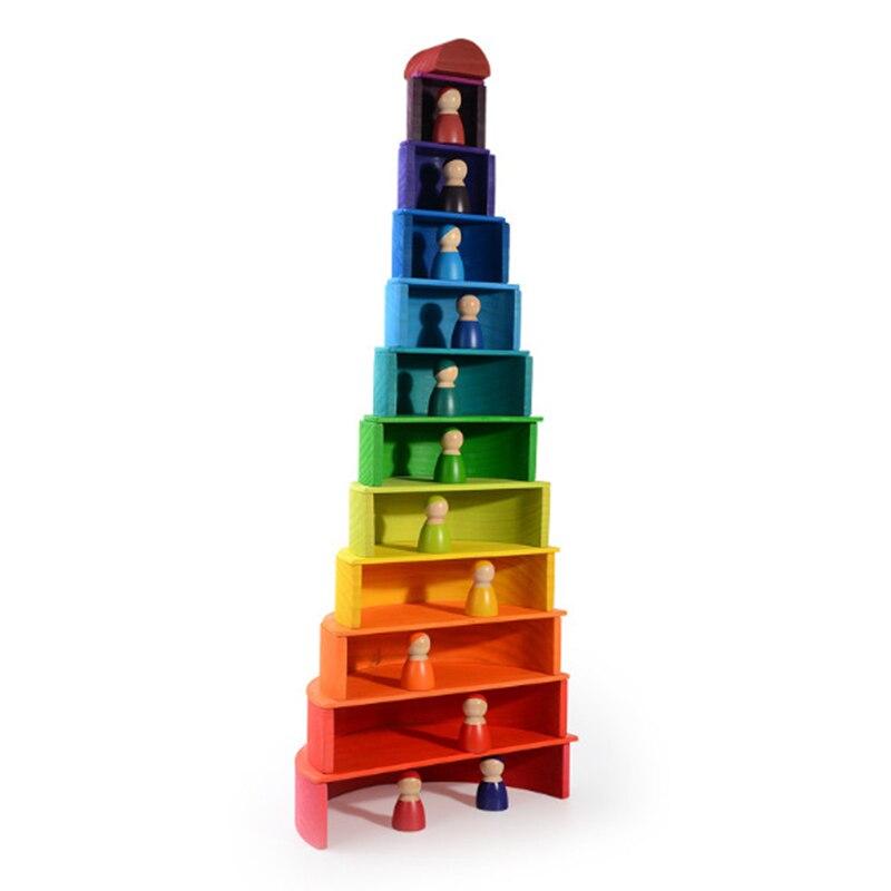 Livraison directe Simulation 12 pièces arc-en-ciel blocs ensemble carré blocs de construction en bois jouets pour enfants demi-cercle/poupées cadeau éducatif
