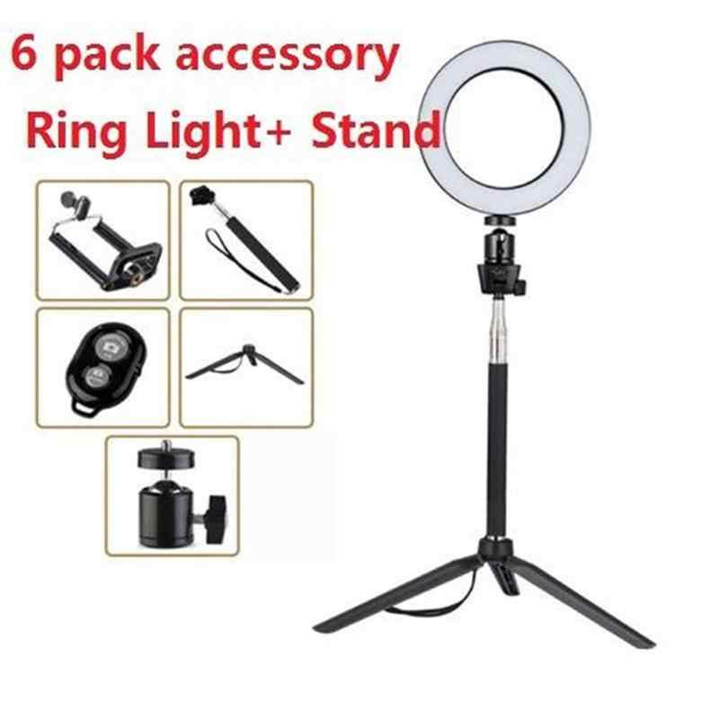 14.5/16/20cm Dimmable LED lumière annulaire Studio caméra téléphone photographie Selfie lampe lumière de remplissage en direct avec trépieds pince de téléphone
