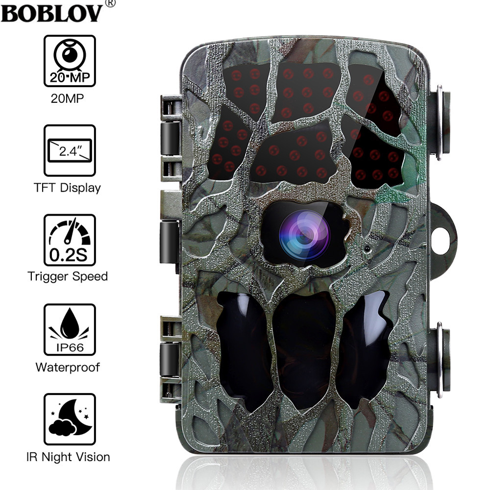 BOBLOV 20MP 1080P Jagd Kamera 0,2 s Trigger Wildlife Kamera Scouting Sicherheit Jagd Trail Kameras IP66 4K Foto trap Outdoor