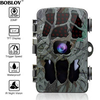 BOBLOV 20MP 1080P cámara de caza 0,2 s Trigger Wildlife Cámara Scouting seguridad caza Trail cámaras IP66 4K Photo Trap al aire libre