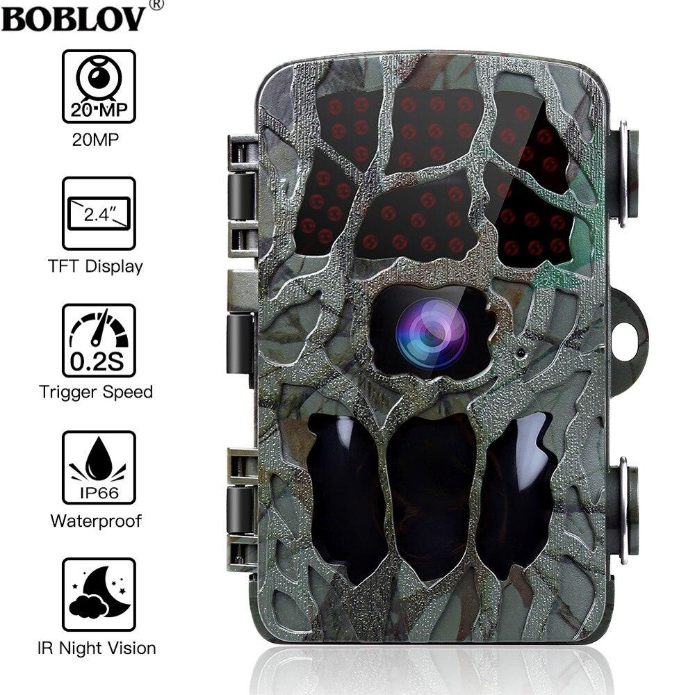 BOBLOV 20MP 1080P chasse caméra 0.2s déclencheur faune caméra Scouting sécurité chasse Trail caméras IP66 4K Photo piège extérieur