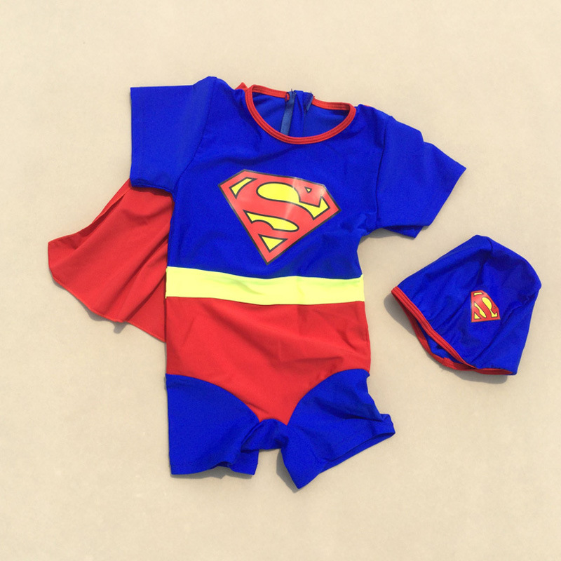 Manufacturers Wholesale Swimsuit For Boys Sun-resistant With Swim Cap Cartoon Modeling Mantle Baby One-piece Swimsuit For Childr