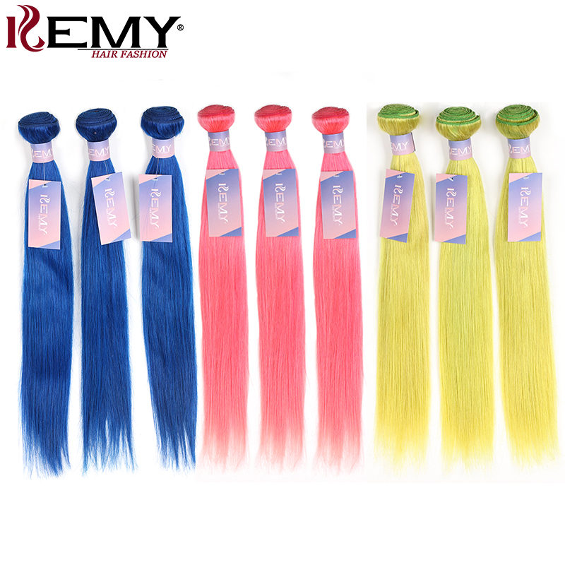 Pink Blue Green Purple Bundles KEMY 10-26 Inch Pre-Colored Brazilian Straight Human Hair Weave Bundles 3/4 PCS Non-Remy Bundles