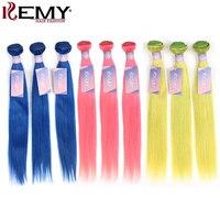 Pink Blue Green Purple Bundles KEMY 10 26 Inch Pre Colored Brazilian Straight Human Hair Weave Bundles 3/4 PCS Non Remy Bundles