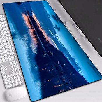 Paisaje Luna lago esteras bonita alfombrilla de ratón de escritorio a prueba de polvo climatizada alfombrilla de ratón personalizado con cosido bordes teclados Pad 900x400mm
