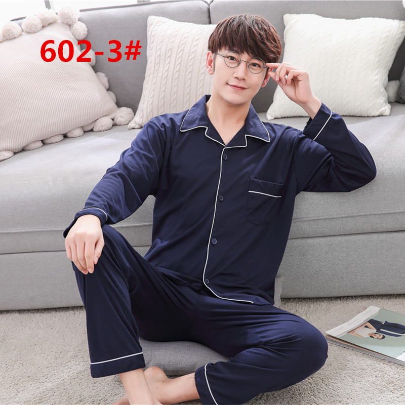 Yidanna Men Pajamas Set Autumn Sleep Clothing Cotton Male Simple Nightwea Casual Lounge Long Sleeved Sleepwear Suit