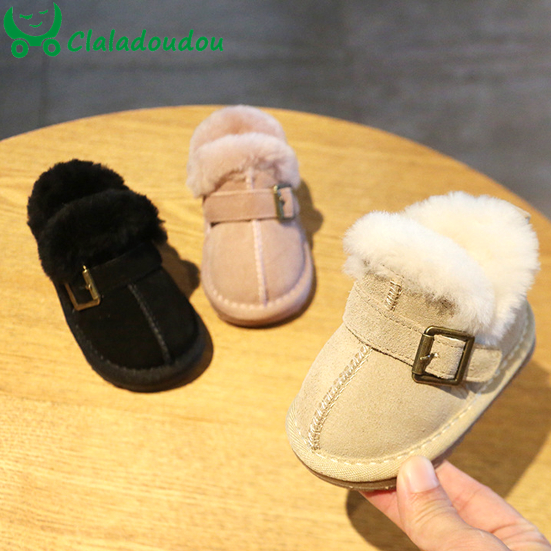 Claladoudou 11-15.5cm Brand Genuine Leather Snow Boots For Baby Girls Boys Warm Plush Pink Black Buckle Winter Boots For Toddler