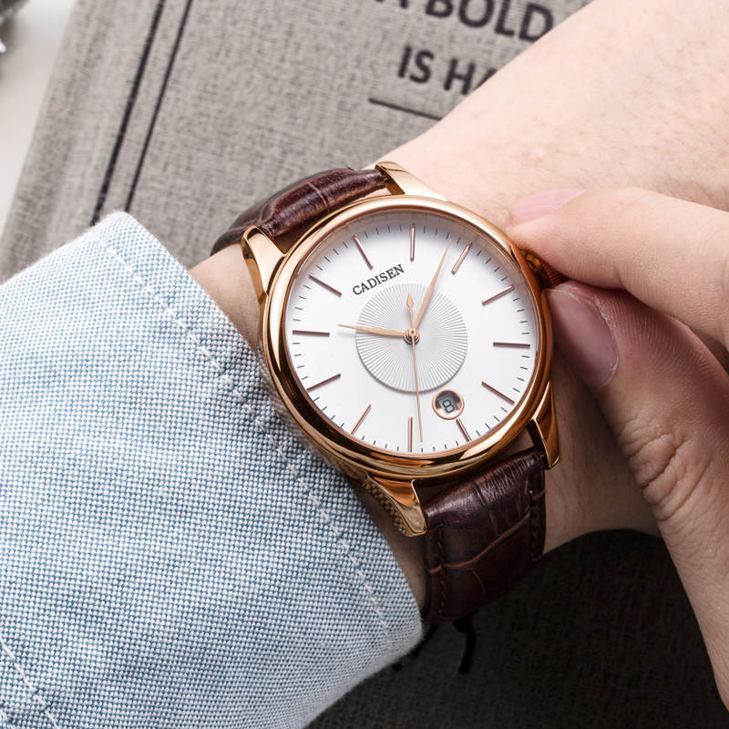 CADISEN Luxury Top Men's Automatic Mechanical Watch Rose Gold Leather Watch Military Business Leisure 5ATM Waterproof Calendar