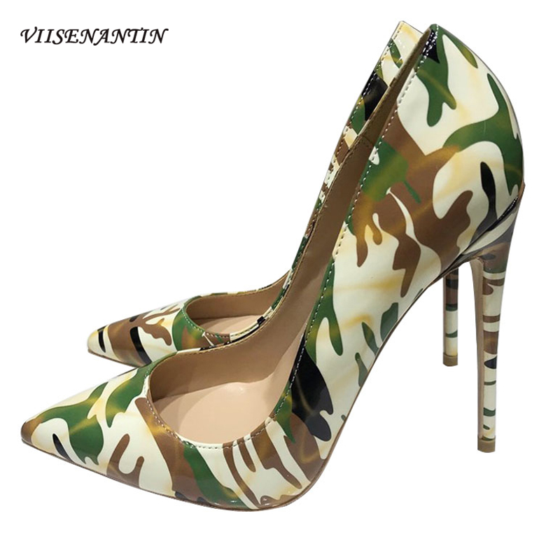 New Urban Camouflage Graffiti Shoes Women's High-heeled Shoes Pointed Toe Shallow Mouth Sexy Shoes 12 10 8cm High Heel