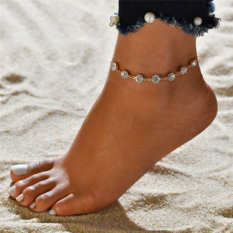 Modyle Fashion Crystal Anklets For Women Gold Silver Color Boho Anklet Strap Bracelet on the Leg Foot Bracelets Bohemian Jewelry