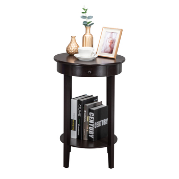 Home Living Room Coffee Table Simple Round With Drawer Side Tea Table Brown High-Quality Desk MDF Storage Rack Bedside Table