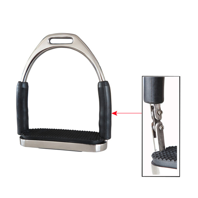 1 Pair Horse Riding Stainless Steel Durable Racing Stirrups Flexible Outdoor Saddle Pedals Anti Slip Sports Folding Safety 6